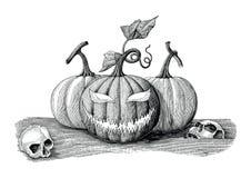 Estilo del vintage del dibujo de la mano del concepto del día de Halloween con el skul humano ilustración del vector