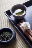 Estilo del zen del té verde Fotografía de archivo