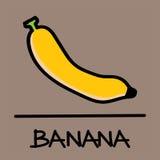 Estilo desenhado à mão da banana bonito, ilustração do vetor Fotos de Stock Royalty Free