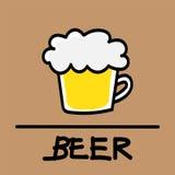 Estilo desenhado à mão da cerveja bonito, ilustração do vetor Imagem de Stock Royalty Free