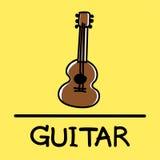 Estilo desenhado à mão da guitarra bonito, ilustração do vetor Imagens de Stock Royalty Free