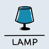 Estilo desenhado à mão da lâmpada bonito, ilustração do vetor Fotos de Stock