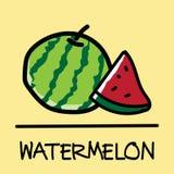 Estilo desenhado à mão da melancia bonito, ilustração do vetor Imagem de Stock Royalty Free