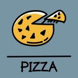 Estilo desenhado à mão da pizza bonito, ilustração do vetor Imagens de Stock