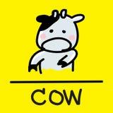 Estilo desenhado à mão da vaca bonito, ilustração do vetor Fotografia de Stock