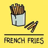 Estilo desenhado à mão das batatas fritas bonitos, ilustração do vetor Fotografia de Stock Royalty Free