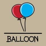 Estilo desenhado à mão do balão bonito, ilustração do vetor Imagens de Stock