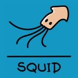 Estilo desenhado à mão do calamar bonito, ilustração do vetor Foto de Stock