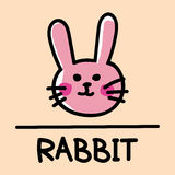 Estilo desenhado à mão do coelho bonito, ilustração do vetor Imagem de Stock Royalty Free
