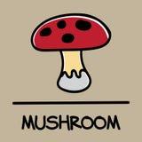 Estilo desenhado à mão do cogumelo bonito, ilustração do vetor Fotografia de Stock Royalty Free