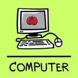 Estilo desenhado à mão do computador bonito, ilustração do vetor Imagem de Stock Royalty Free