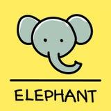 Estilo desenhado à mão do elefante bonito, ilustração do vetor Foto de Stock