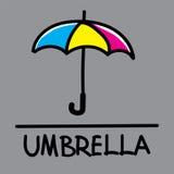 Estilo desenhado à mão do guarda-chuva bonito, ilustração do vetor Fotos de Stock