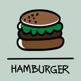 Estilo desenhado à mão do Hamburger bonito, ilustração do vetor Fotografia de Stock Royalty Free