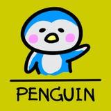 Estilo desenhado à mão do pinguim bonito, ilustração do vetor Fotos de Stock