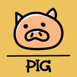 Estilo desenhado à mão do porco bonito, ilustração do vetor Fotos de Stock