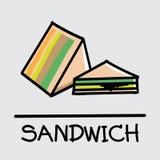 Estilo desenhado à mão do sanduíche bonito, ilustração do vetor Foto de Stock