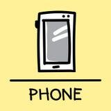 Estilo desenhado à mão do telefone bonito, ilustração do vetor Fotos de Stock Royalty Free