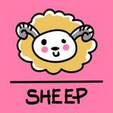 Estilo desenhado à mão dos carneiros bonitos, ilustração do vetor Fotos de Stock