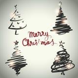 Estilo determinado del bosquejo del diseño del árbol de navidad del vector Imagen de archivo libre de regalías