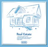 Estilo dibujado de la bandera de Real Estate a disposición Imagen de archivo libre de regalías