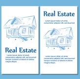 Estilo dibujado de los carteles de Real Estate a disposición Fotos de archivo