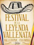 Estilo dibujado del sombrero de Vueltiao a disposición para el festival de la leyenda de Vallenato, ejemplo del vector stock de ilustración
