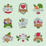 Estilo dibujado mano de la muestra natural vegetariana de la granja del bio del eco de la comida de la etiqueta del vegano ejempl Fotografía de archivo