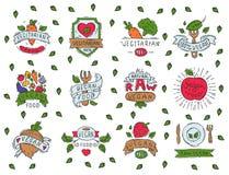 Estilo dibujado mano de la muestra natural vegetariana de la granja del bio del eco de la comida de la etiqueta del vegano ejempl Foto de archivo