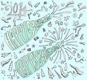 estilo dibujado mano del garabato de la Feliz Año Nuevo Fotografía de archivo