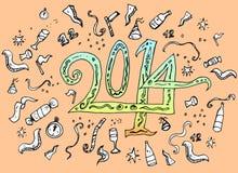 Estilo dibujado mano del garabato de la Feliz Año Nuevo Foto de archivo