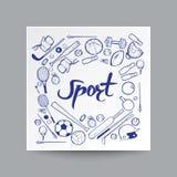 Estilo dibujado mano del garabato, equipo de deporte en fondo, Foto de archivo libre de regalías