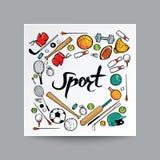 Estilo dibujado mano del garabato, equipo de deporte en fondo aislado, Foto de archivo libre de regalías