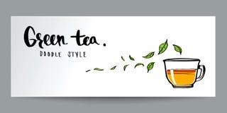 Estilo dibujado mano del garabato, té verde y caligrafía, cartel o vagos Foto de archivo libre de regalías