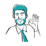 Estilo dibujado mano del garabato un hombre de negocios que muestra la muestra ACEPTABLE, negocio Foto de archivo libre de regalías