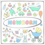 Estilo disponivel do desenho dos elementos da festa do bebê Fotos de Stock Royalty Free