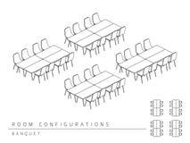 Estilo do banquete da configuração da disposição da instalação da sala de reunião ilustração royalty free