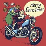Estilo do desenho da mão do passeio de Papai Noel uma motocicleta ao deliverin Imagens de Stock