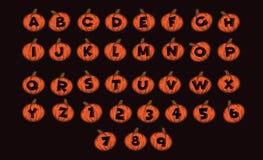 Estilo do Dia das Bruxas do vetor do alfabeto do projeto da fonte Abóbora o Dia das Bruxas da letra do alfabeto Fotos de Stock