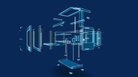 estilo do fio da impressora 3d, ilustração 3d Fotografia de Stock