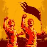 Estilo do fundo da propaganda do cartaz da revolução dos homens e das mulheres ilustração royalty free