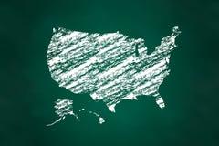 Estilo do giz do mapa do Estados Unidos ilustração royalty free