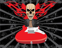 Estilo do grunge da guitarra e do crânio Fotografia de Stock Royalty Free