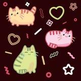 Estilo do kawaii do gato, gatinho, vaquinha, vetor do animal de estimação no fundo escuro Imagem de Stock