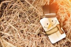 Estilo do papercut do boneco de neve no fundo do feno Fotografia de Stock