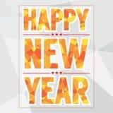 Estilo do polígono do cartão do ano novo feliz Foto de Stock