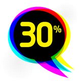 Estilo do pop art, conceito do negócio com texto um disconto de 30 por cento ilustração royalty free