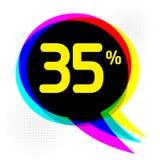 Estilo do pop art, conceito do negócio com texto um disconto de 35 por cento ilustração do vetor