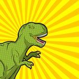 Estilo do pop art do tiranossauro Réptil pré-histórico irritado antigo ilustração do vetor