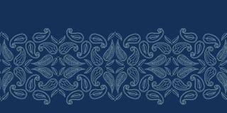 Estilo do sashiko do motivo de paisley da folha floral Teste padrão sem emenda do vetor da beira do bordado japonês Foulard do bo ilustração royalty free